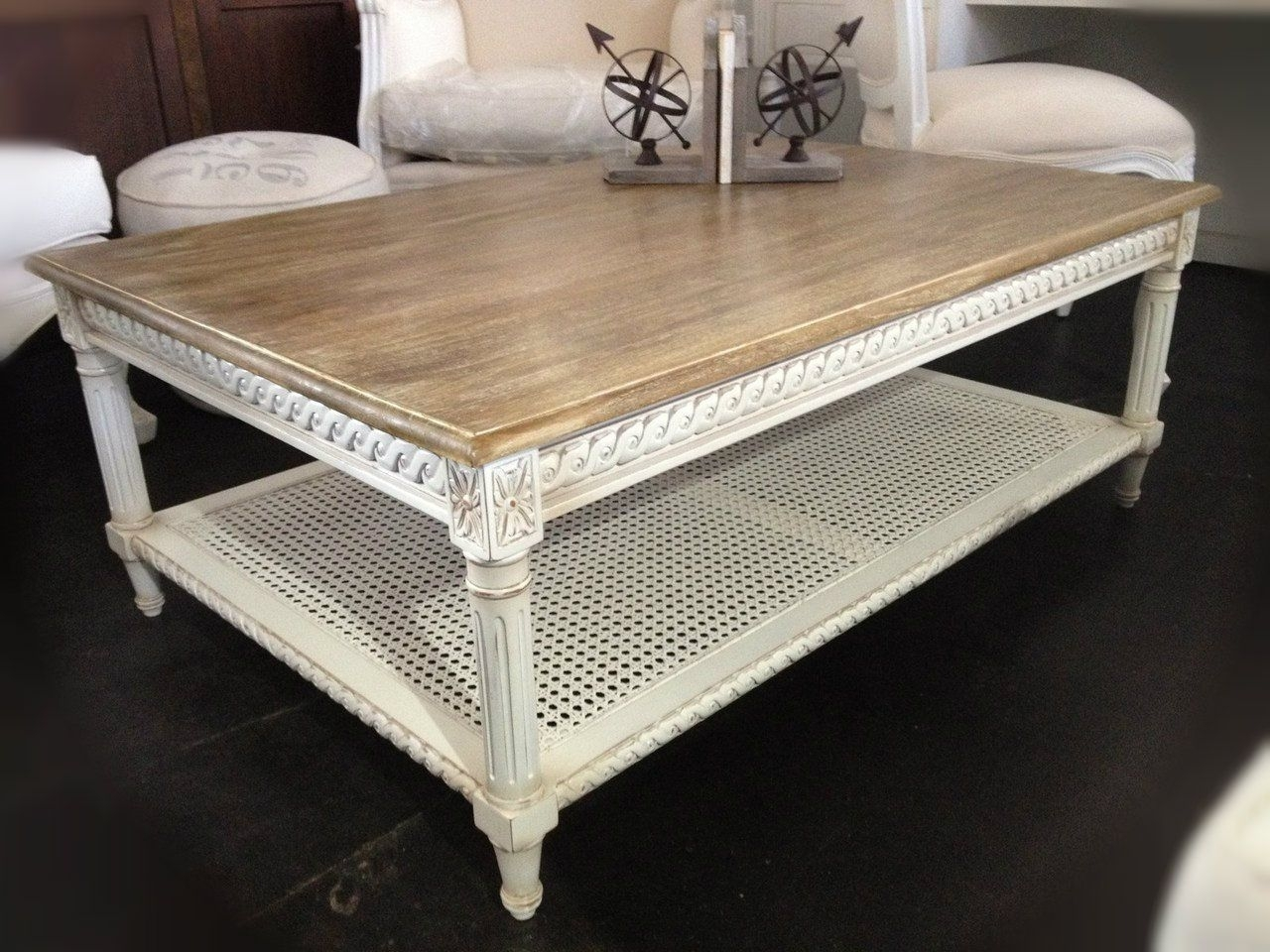 Hamptons Rattan Coffee Table - Distressed White With Limewash Top intended for Limewash Coffee Tables (Image 7 of 30)
