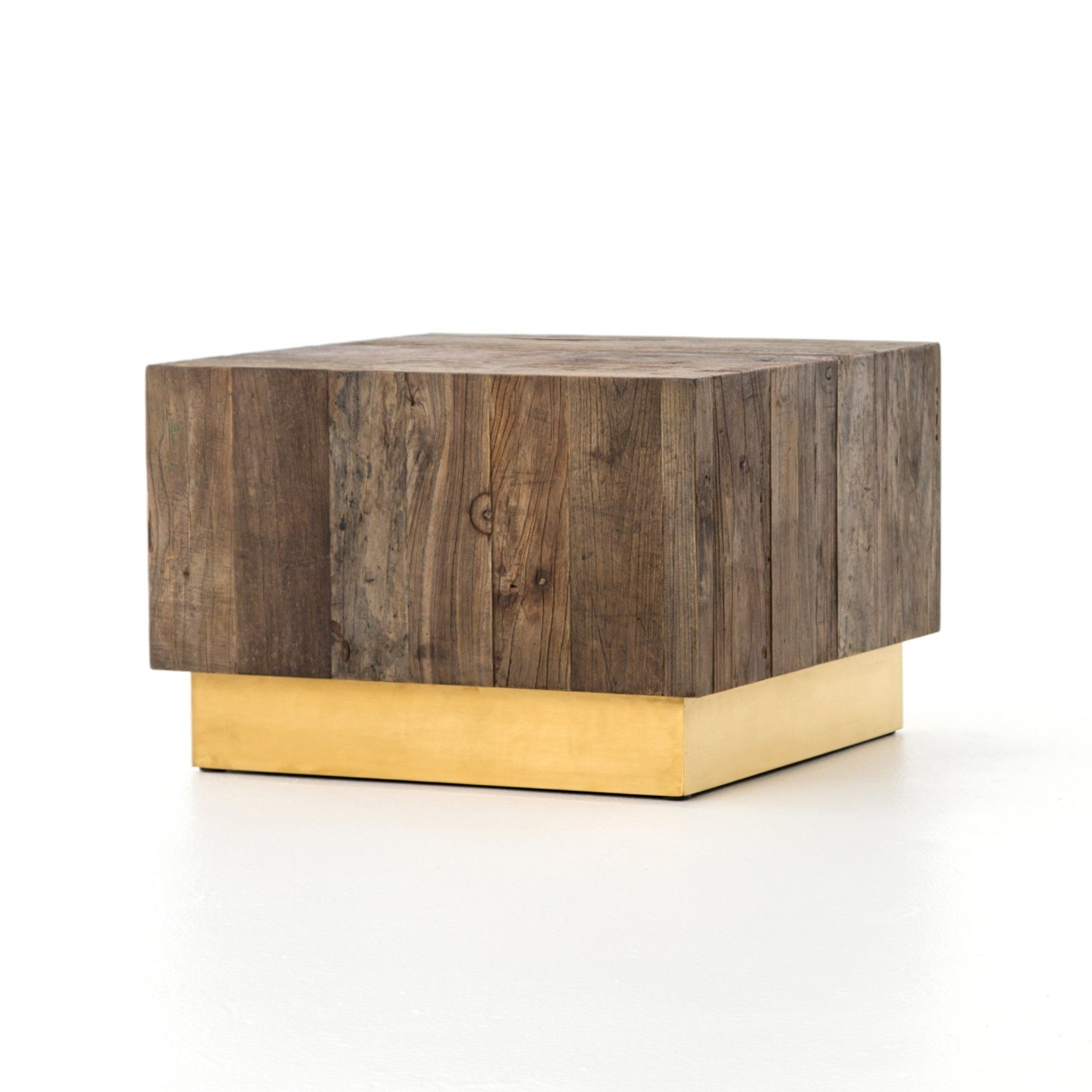 Hanaley Reclaimed Elm With Brass Base Coffee Table | Cube Design pertaining to Joni Brass And Wood Coffee Tables (Image 15 of 30)