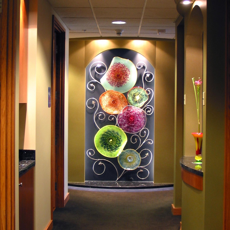 Hand Blown Glass Platter Wall Art Sculpture Trend Wall Art Glass with Glass Wall Art (Image 10 of 20)