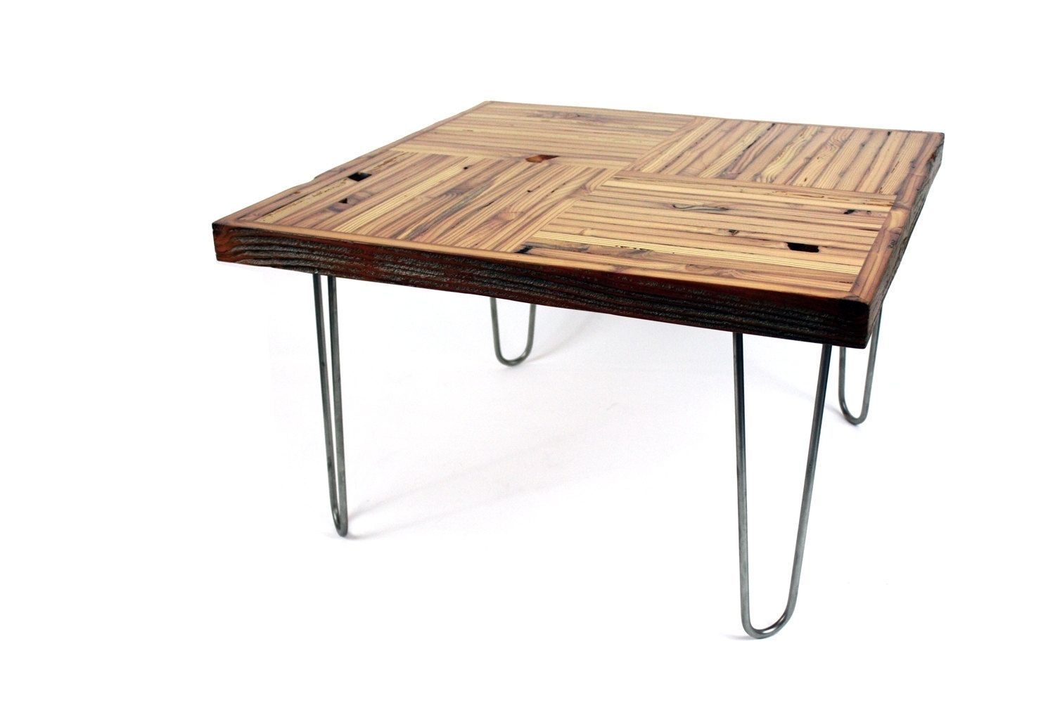 Hand Crafted 'block Parquet' Coffee Table // Reclaimed Wood Table in Parquet Coffee Tables (Image 14 of 30)