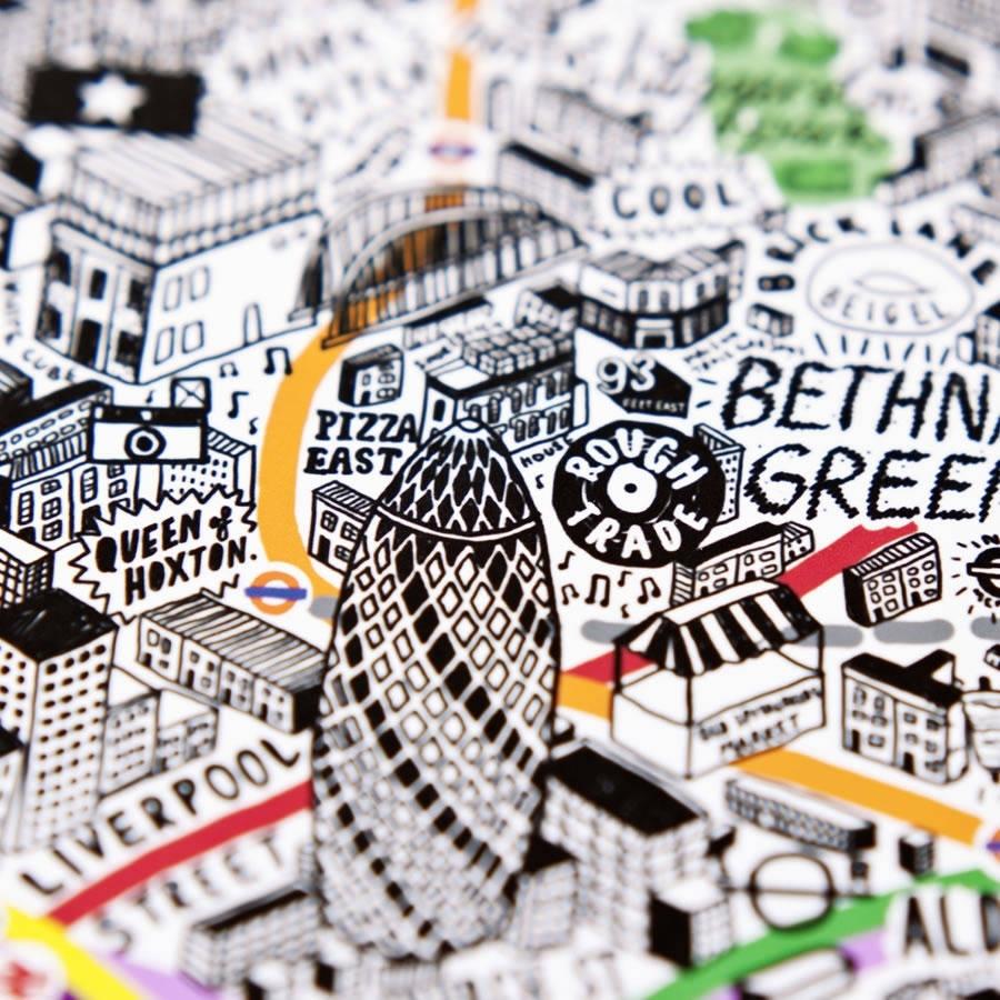 Hand Drawn Map Of London Printevermade | Notonthehighstreet Inside Tube Map Wall Art (View 20 of 20)