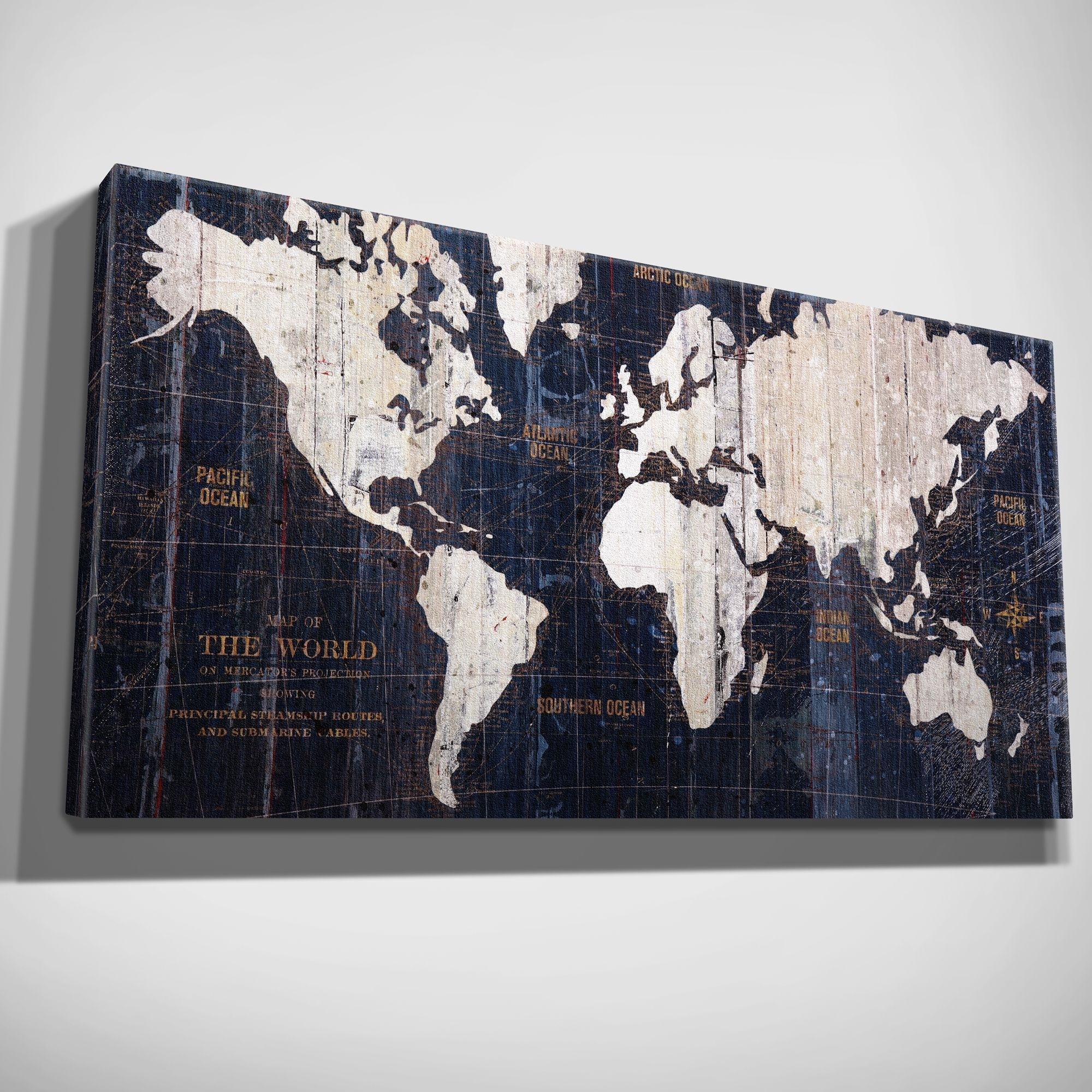 Hand Embellished Old World Map Blue Canvas Art (16X32), Wexford Home intended for Old World Map Wall Art (Image 5 of 20)