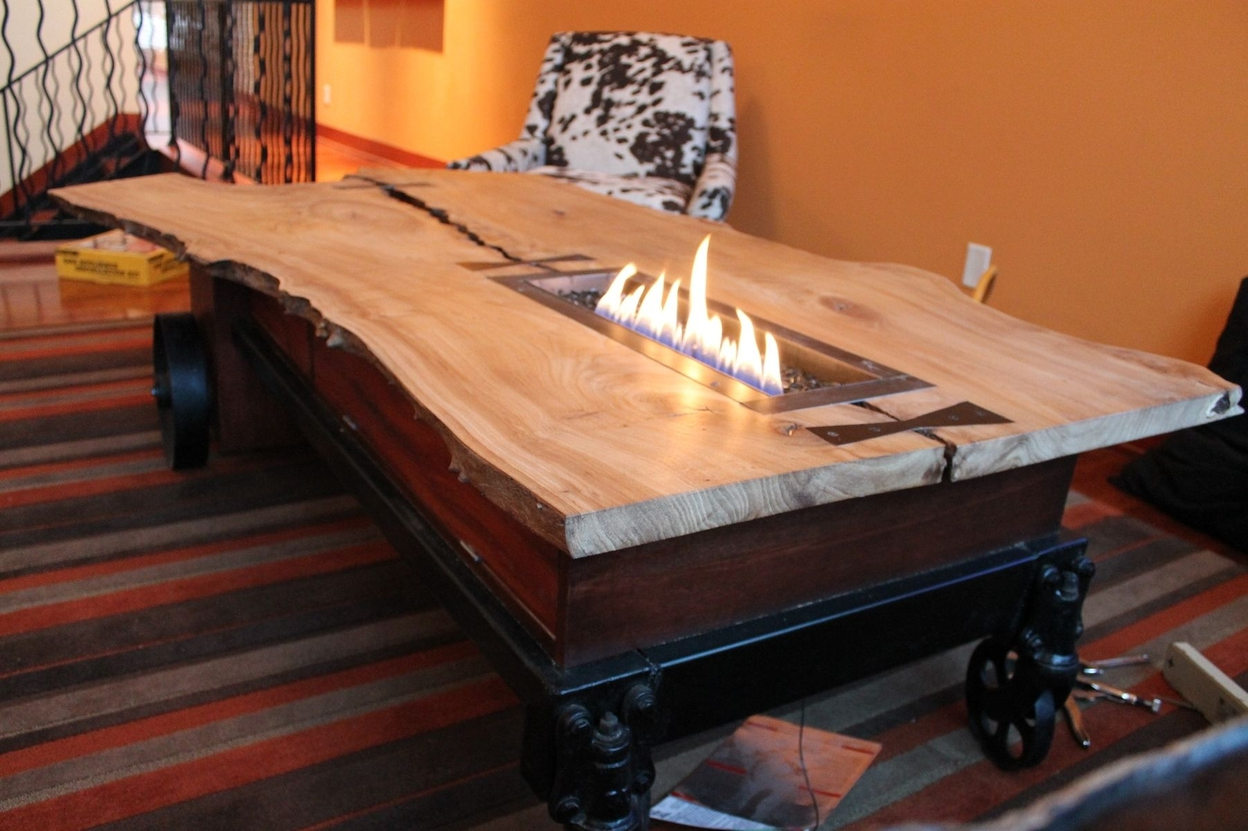 Hand Made Coffee Table//fireplace//industrial Cartcrafty throughout Mill Large Coffee Tables (Image 9 of 30)