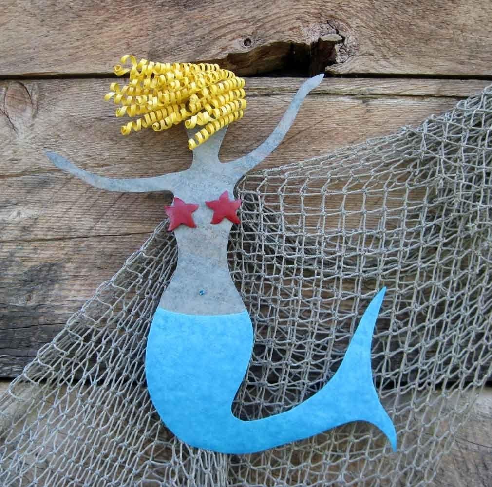 Hand Made Mermaid Metal Wall Art Sea Life - Clara - Beach House Wall in Sea Life Wall Art (Image 7 of 20)