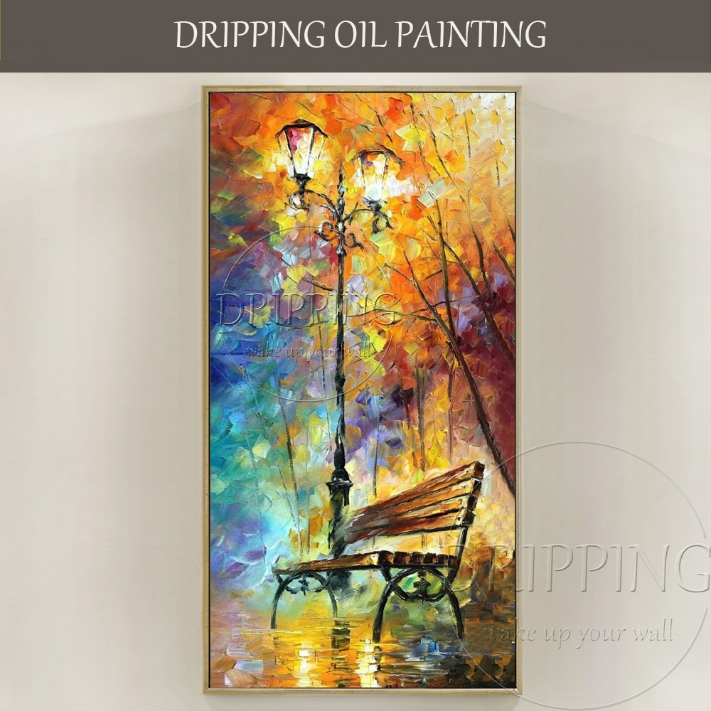 Hand Painted Colorful Wall Art Picture Park Bench Oil Painting For pertaining to Colorful Wall Art (Image 15 of 20)