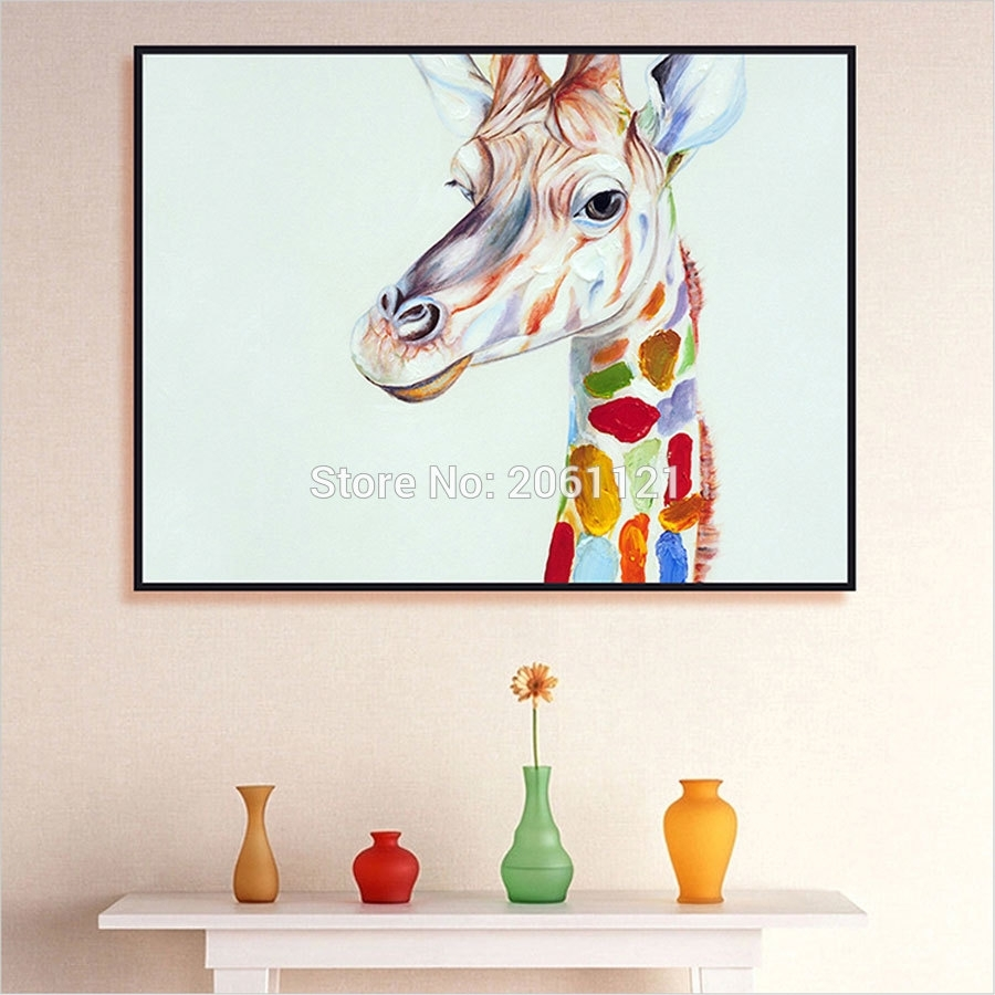 Hand Painted Home Decor Wall Art Picture Cute Kid Animal Oil regarding Giraffe Canvas Wall Art (Image 10 of 20)