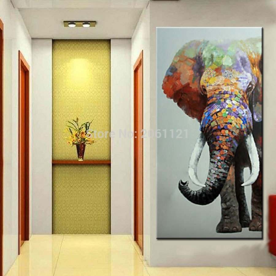 Hand Painted Large Big Elephant Wall Art Abstract Textured Vertical With Elephant Wall Art (View 16 of 20)