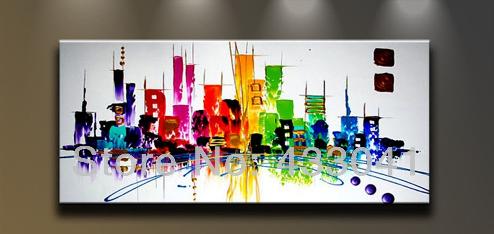 Hand Painted Large City Building Landscape Oil Painting Abstract within Abstract Wall Art (Image 13 of 20)