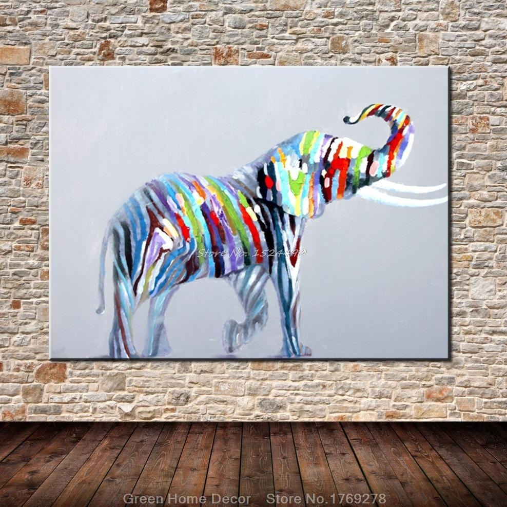 Hand Painted Lovely Elephant Wall Art Beauty Funny Animal Home Decor For Elephant Wall Art (View 13 of 20)