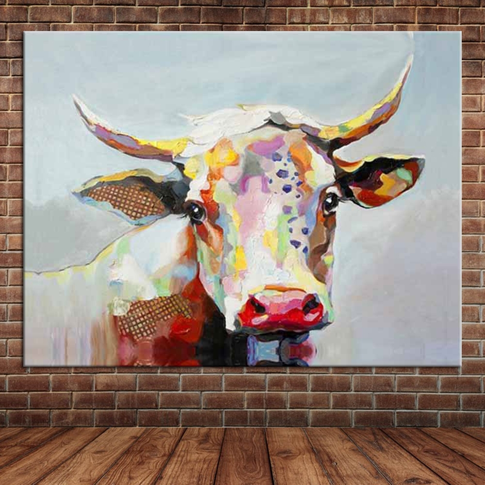 Hand Painted Oil Painting Cow Large Canvas Wall Art Cute Animal with Cow Canvas Wall Art (Image 15 of 20)