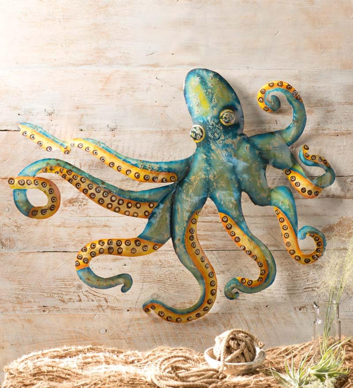 Handcrafted Metal Octopus Wall Art | Seaside Home Decor | New & Best inside Octopus Wall Art (Image 7 of 20)