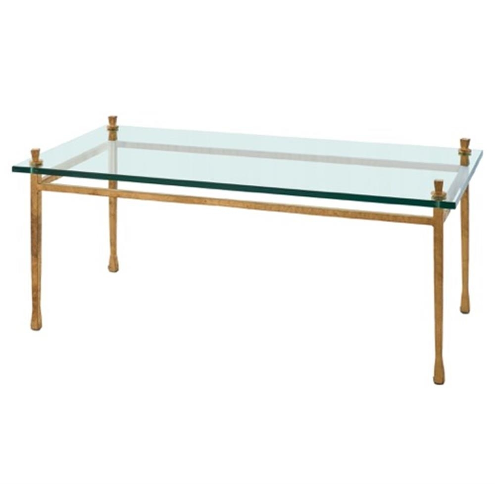Handler Global Bazaar Floating Glass Gold Leaf Coffee Table pertaining to Gold Leaf Collection Coffee Tables (Image 15 of 30)