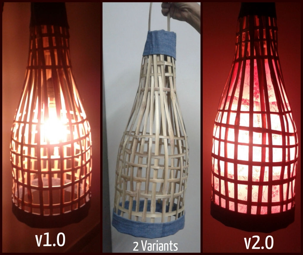 Handmade Bamboo Lantern. Using Old Bamboo Blinds (View 10 of 20)