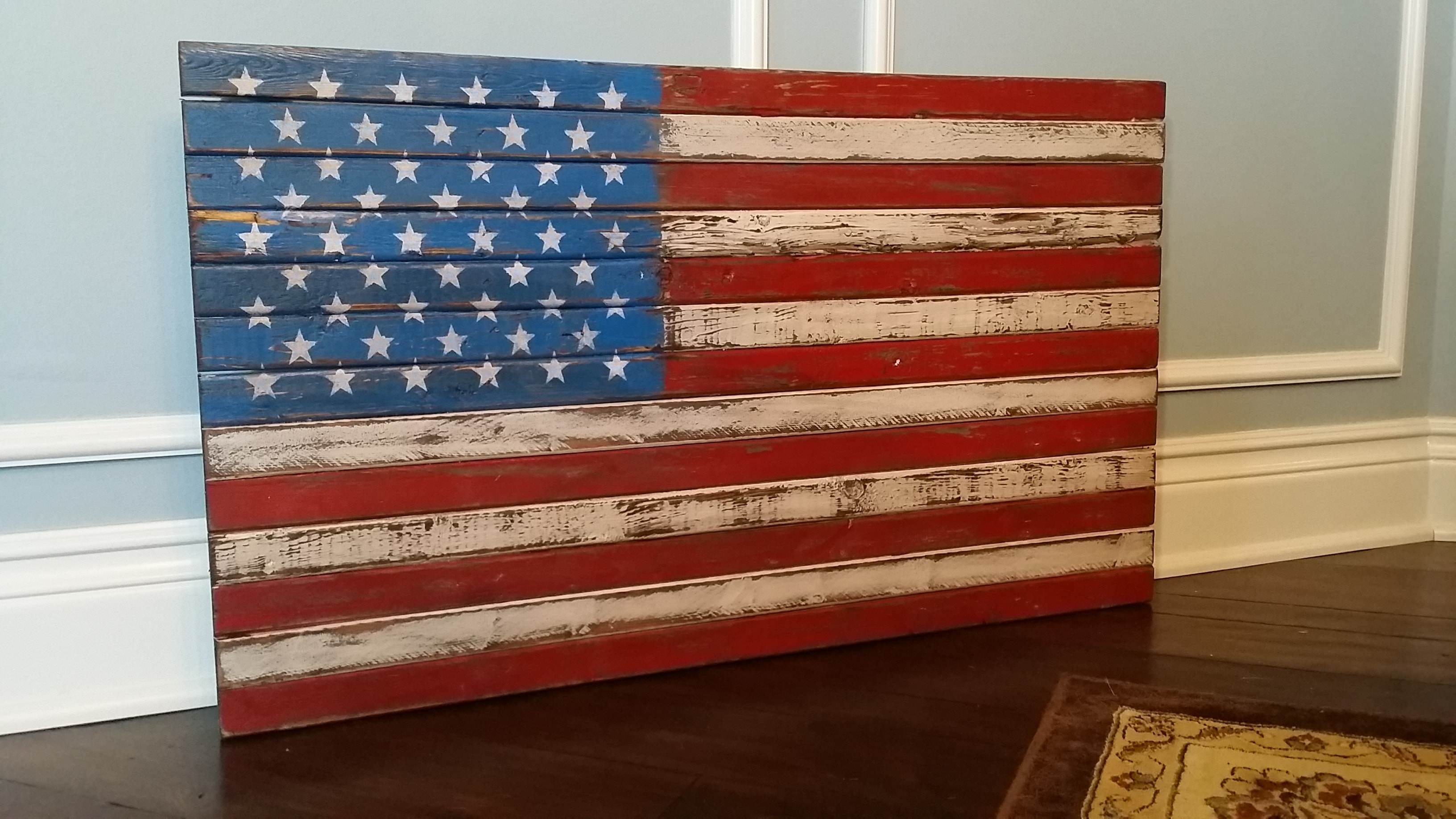 Handmade In Usa, Vintage, Rustic And Distressed Wooden U.s. American inside American Flag Wall Art (Image 9 of 20)