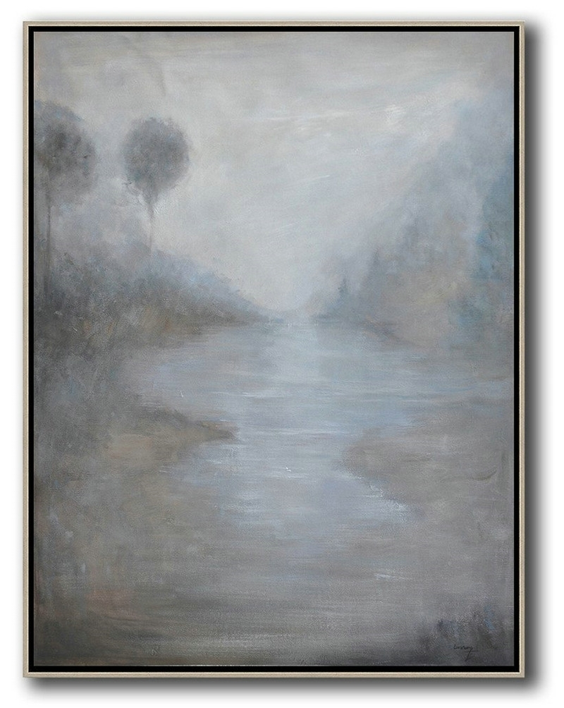 Handmade Large Contemporary Art,oversized Abstract Landscape regarding Oversized Teal Canvas Wall Art (Image 11 of 20)