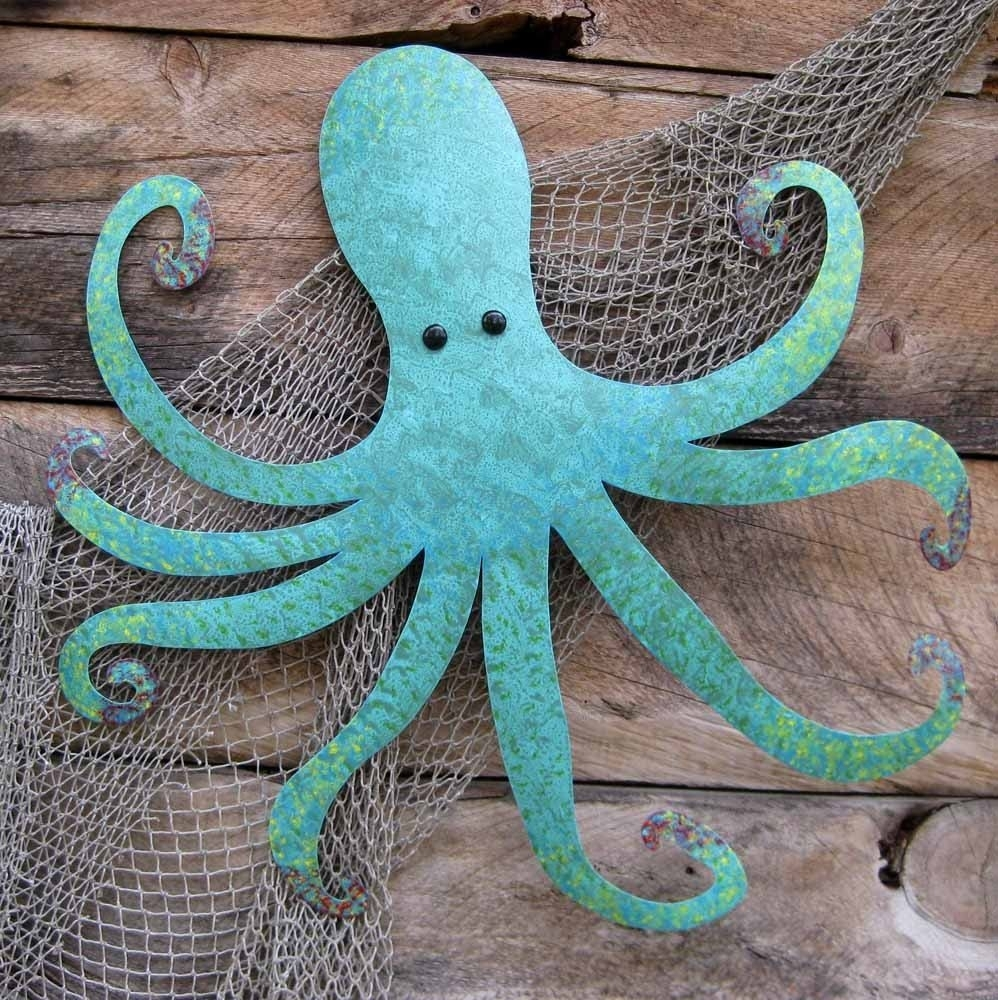 Handmade Large Metal Octopus Wall Sculpture Ocean Wall Decor Teal within Octopus Wall Art (Image 8 of 20)