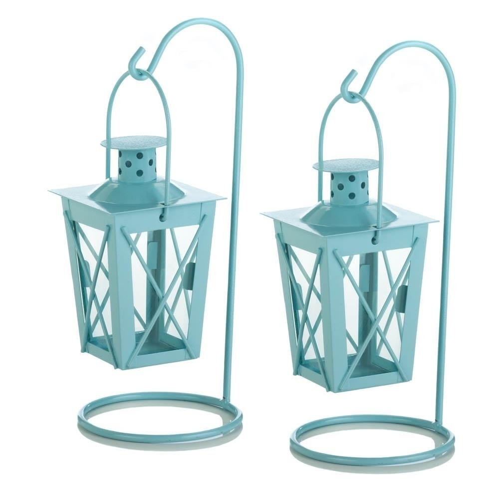 Hanging Lantern Candle, Blue Railroad Duo Glass Metal Small Hanging with regard to Blue Outdoor Lanterns (Image 13 of 20)