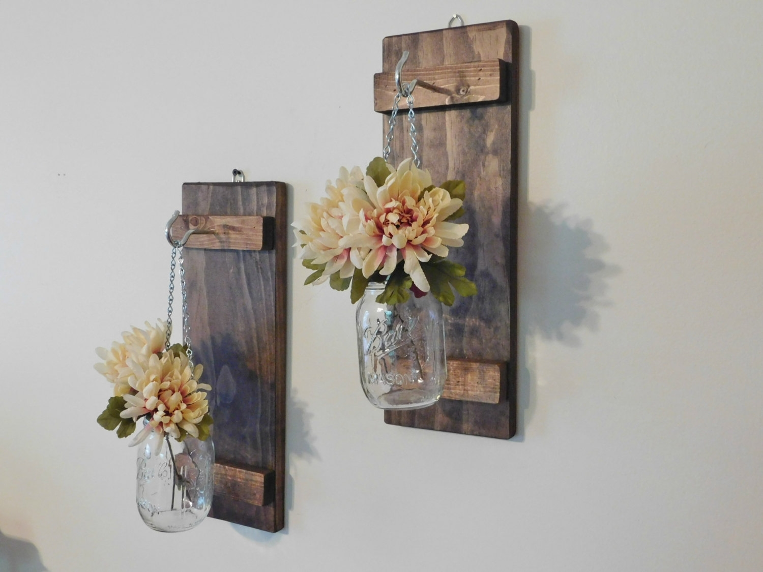 Hanging Mason Jar Wall Sconce Flower Vase Candle Sconce Wall, Mason throughout Mason Jar Wall Art (Image 7 of 20)