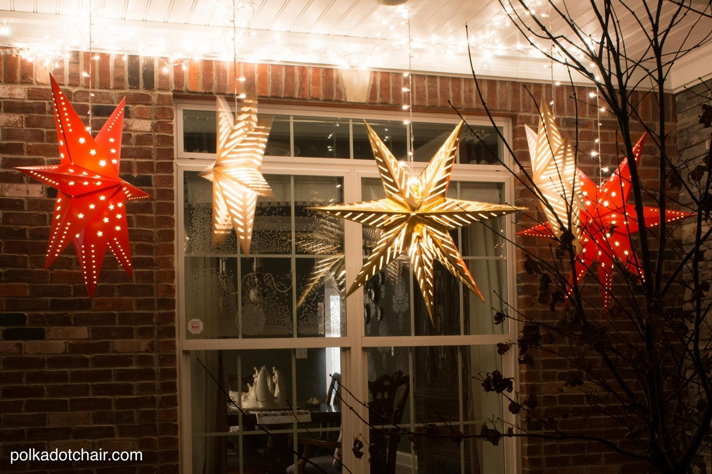 Hanging Star Lanterns; A Christmas Front Porch Decorating Idea - The with regard to Outdoor Lanterns For Front Porch (Image 11 of 20)