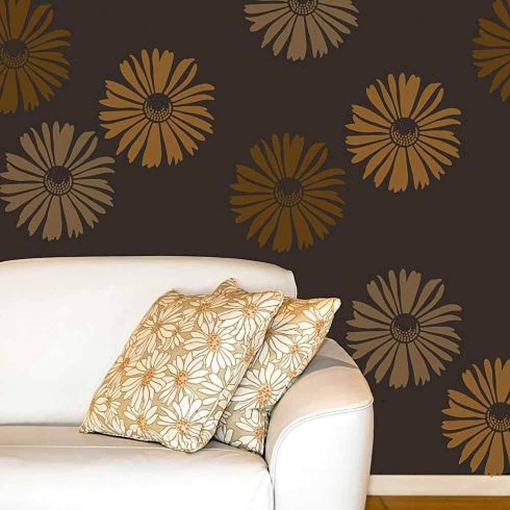 Happy Daisy Wall Art Stencil – Medium – Floral Wall Stencils For Inside Stencil Wall Art (View 12 of 20)