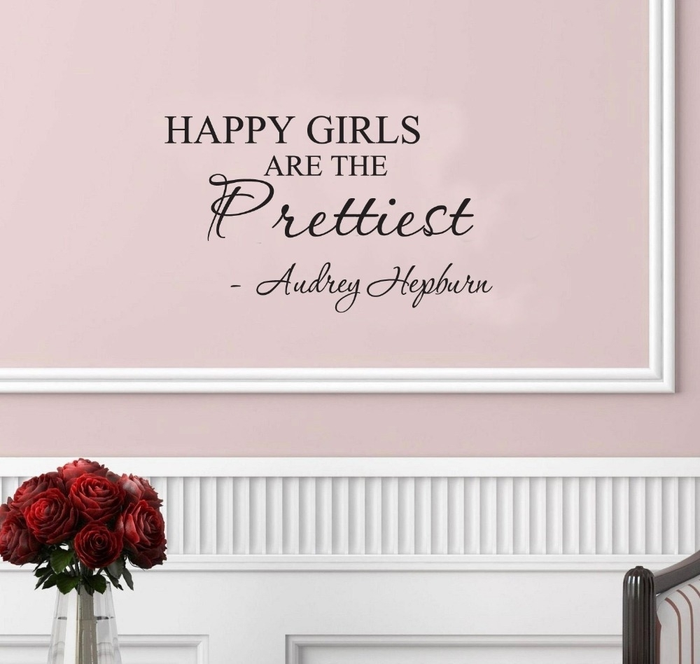 Happy Girls Are The Prettiest. Audrey Hepburn. Vinyl Wall Art intended for Inspirational Quotes Wall Art (Image 5 of 20)