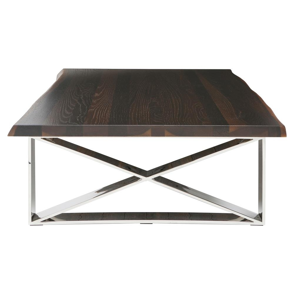 Haven Industrial Loft Brown Wood Metallic Coffee Table | Kathy Kuo Home in Haven Coffee Tables (Image 19 of 30)