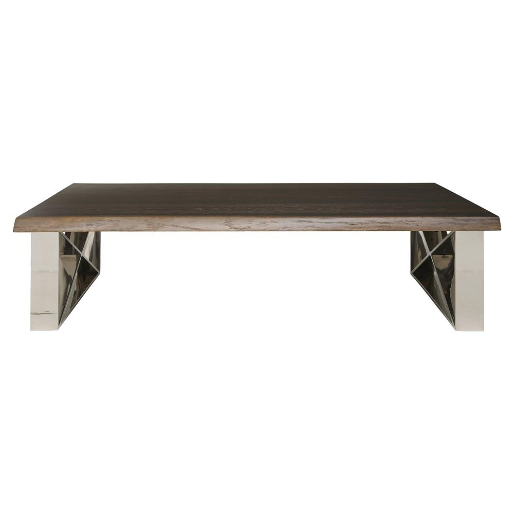 Haven Industrial Loft Brown Wood Metallic Coffee Table | Kathy Kuo Home within Haven Coffee Tables (Image 20 of 30)