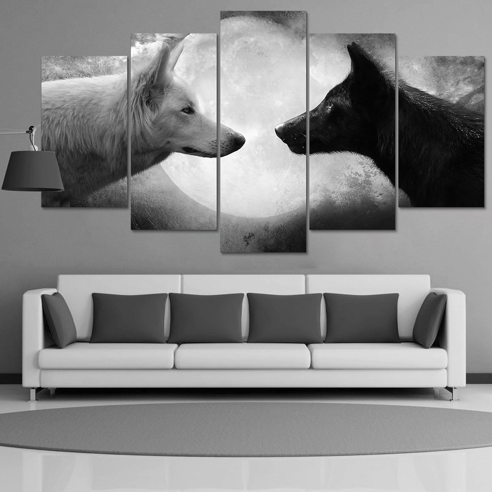 Hd Print 5 Pcs Canvas Wall Art Black White Wolf Painting Art Picture in Black And White Canvas Wall Art (Image 10 of 20)