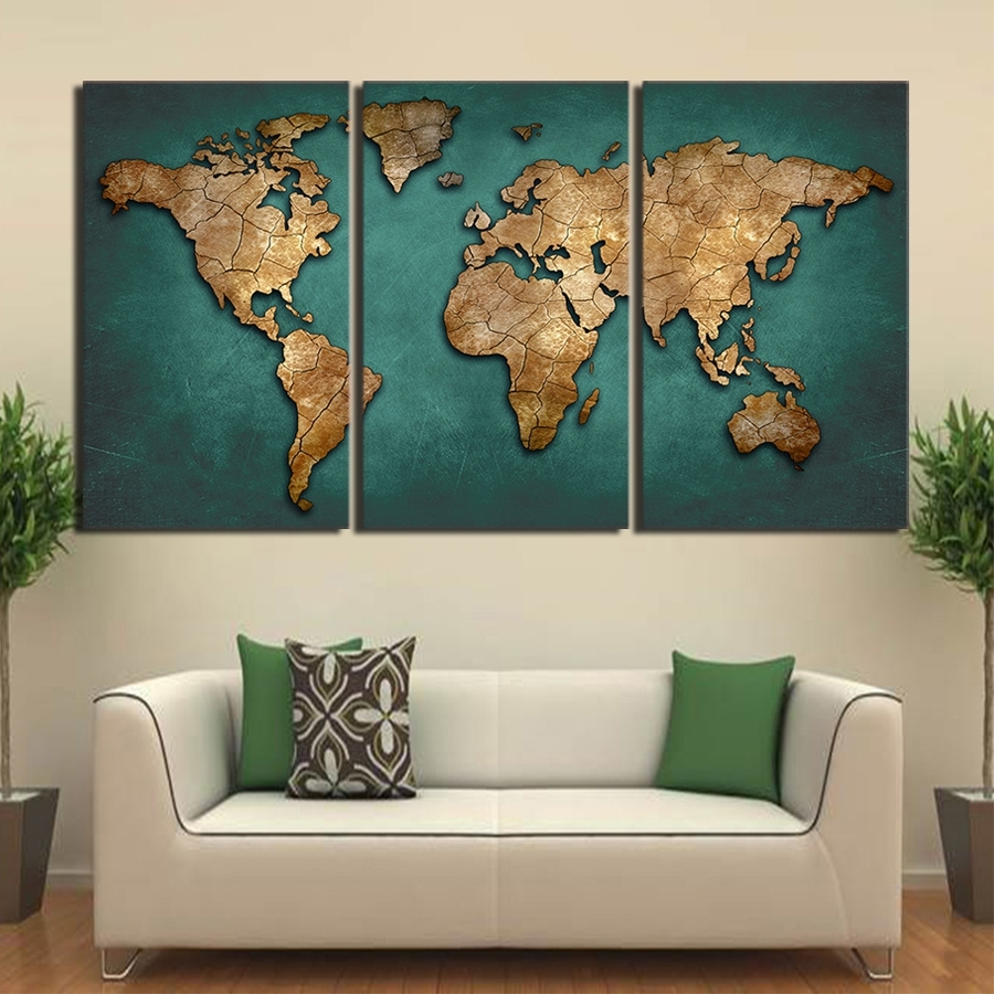 Hd Printed 3 Piece Canvas Art World Map Canvas Painting Vintage pertaining to World Map for Wall Art (Image 5 of 20)