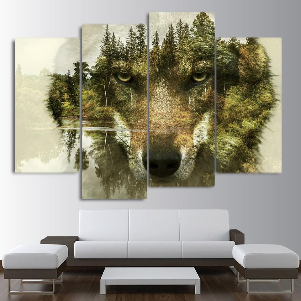 Hd Printed 5 Piece Canvas Art Abstract Animal Wolf Woods Painting In 5 Piece Wall Art (Photo 16 of 20)