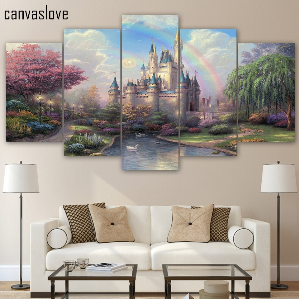 Hd Printed 5 Piece Canvas Art Cinderellas Castle Painting Wall Art regarding 5 Piece Wall Art (Image 17 of 20)