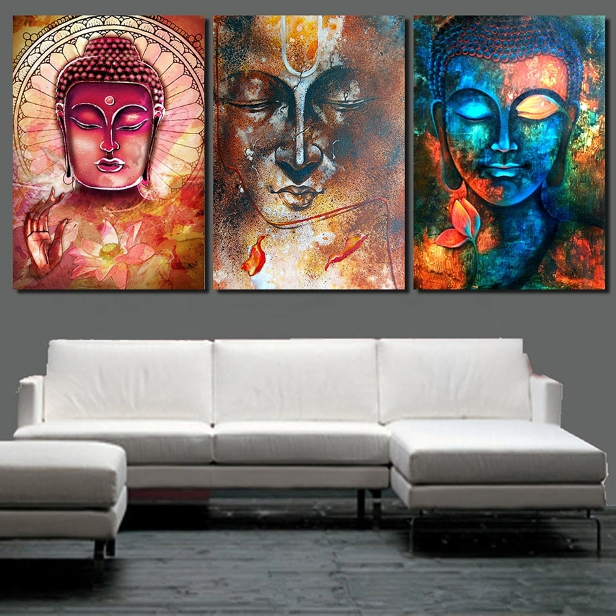 Hd Printed Abstract Buddha Wall Art 3 Piece Canvas Living Room In 3 Piece Canvas Wall Art (View 13 of 20)