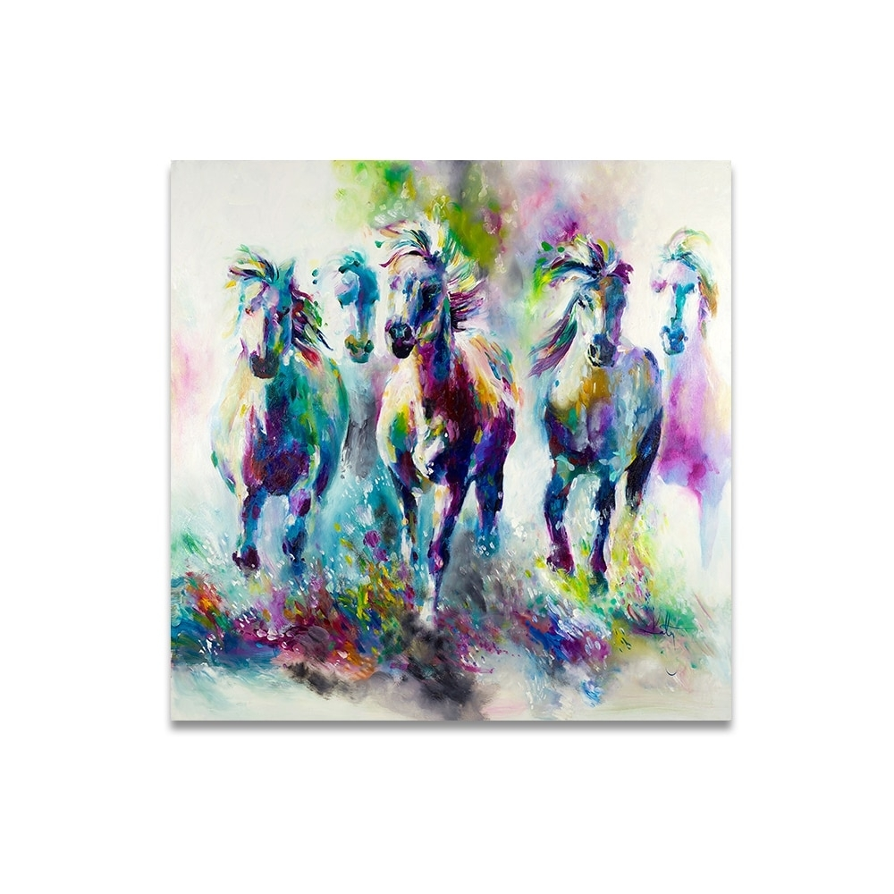 Hdartisan Colorful Wall Decorations The Running Horses Canvas with Colorful Wall Art (Image 16 of 20)