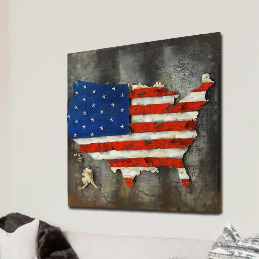 Hdc International 3D Us American Flag Wall Decor | Wayfair regarding American Flag Wall Art (Image 10 of 20)