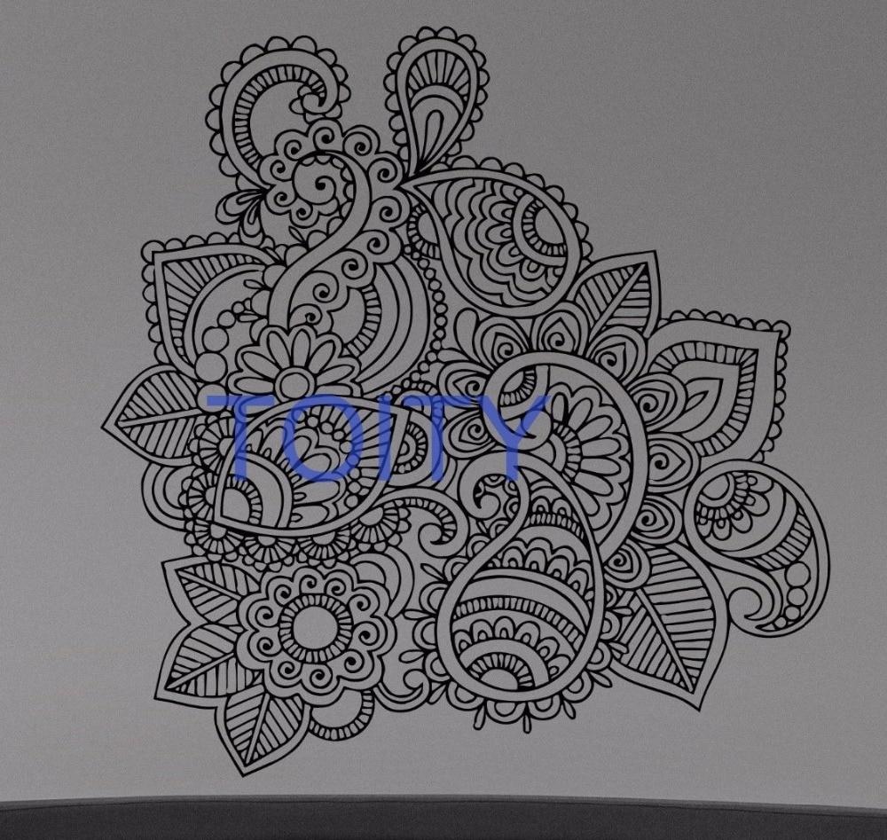 Henna Mehndi Wall Sticker Flower Paisley Doodle Vinyl Decal Home inside Henna Wall Art (Image 7 of 20)