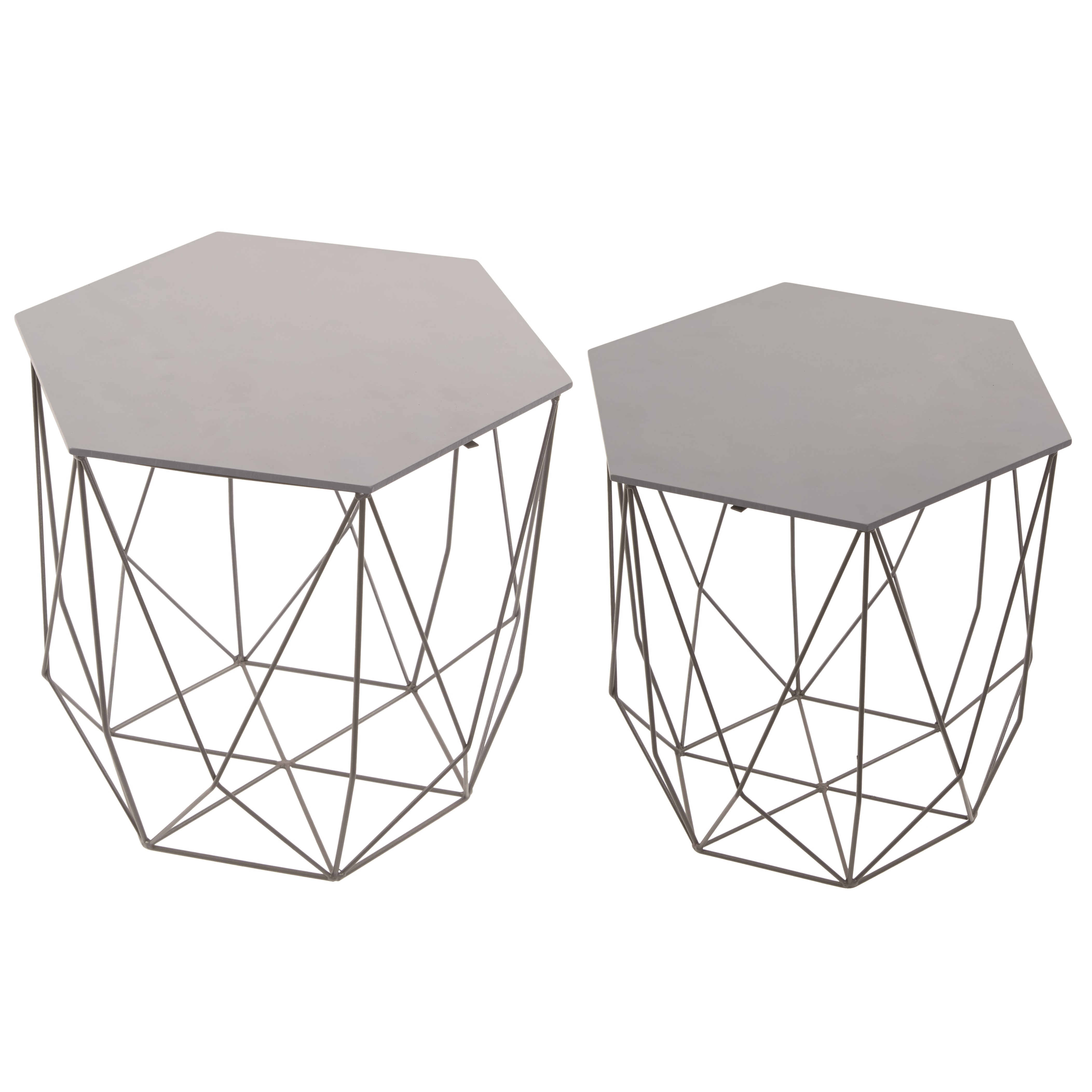 Hexagon Grey Six Sided Wire & Wood Side Table Set Of 2 with regard to Black Wire Coffee Tables (Image 11 of 30)
