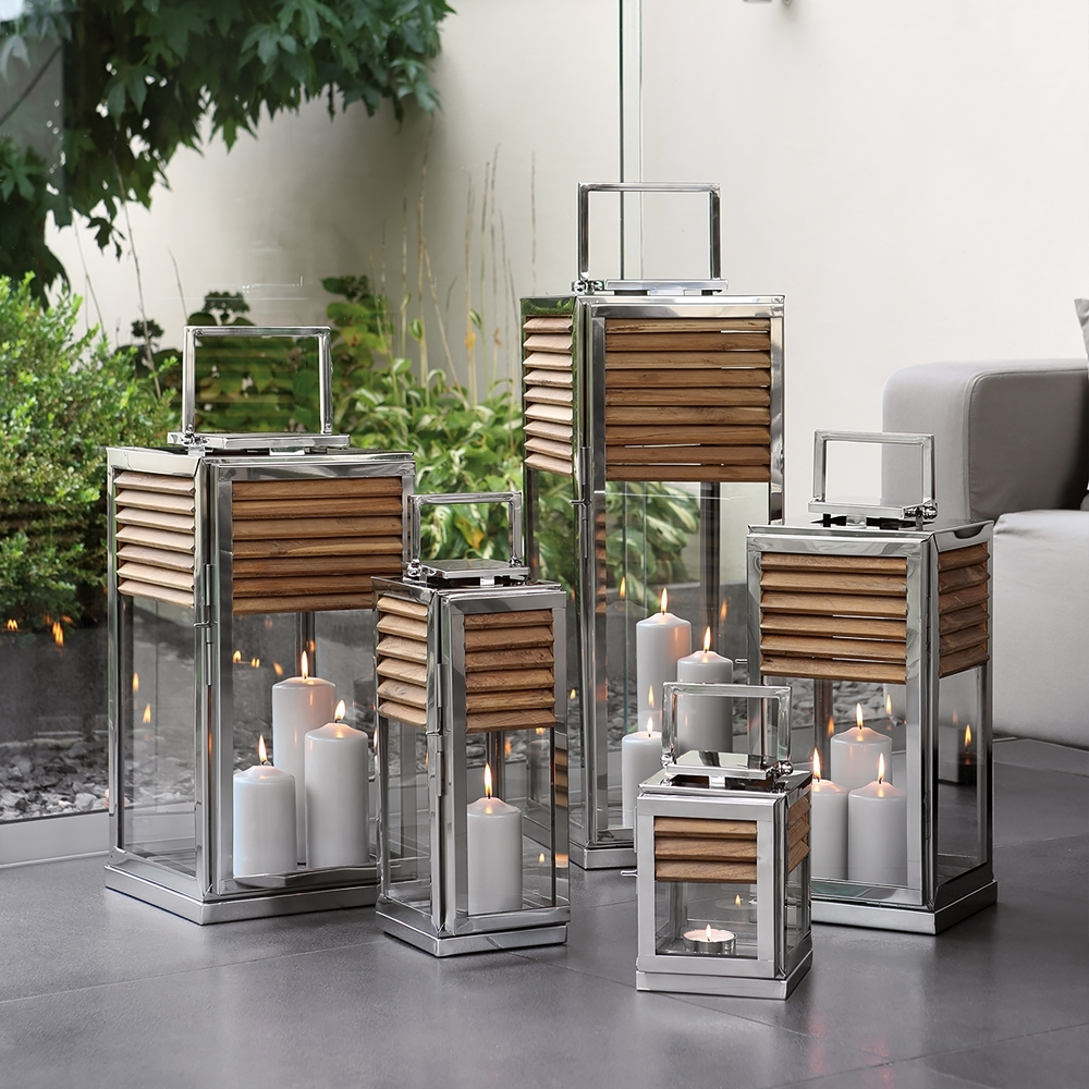 High End Modern Outdoor Teak Lantern Set | Juliettes Interiors In Outdoor Teak Lanterns (View 2 of 20)