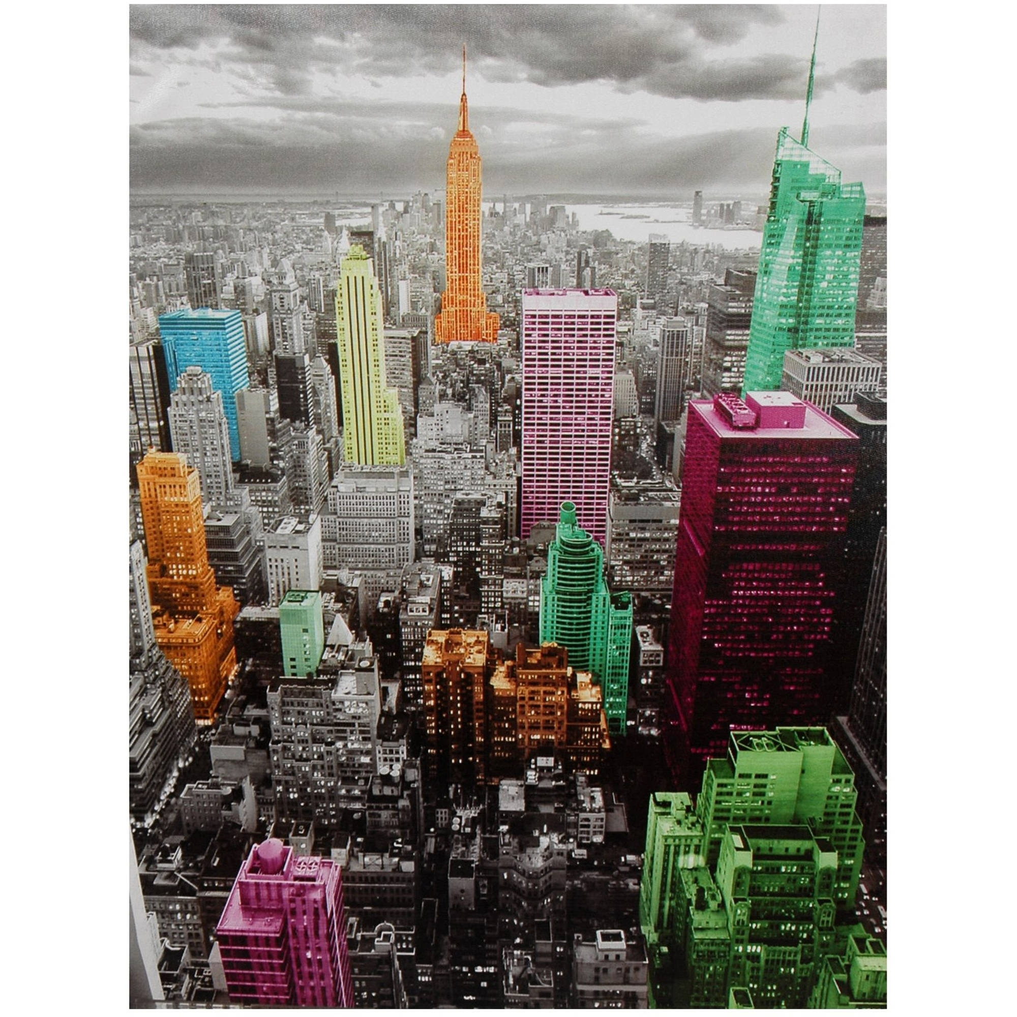 High Lights Of New York Skyline Canvas Wall Art – Walmart Regarding New York Canvas Wall Art (View 4 of 20)
