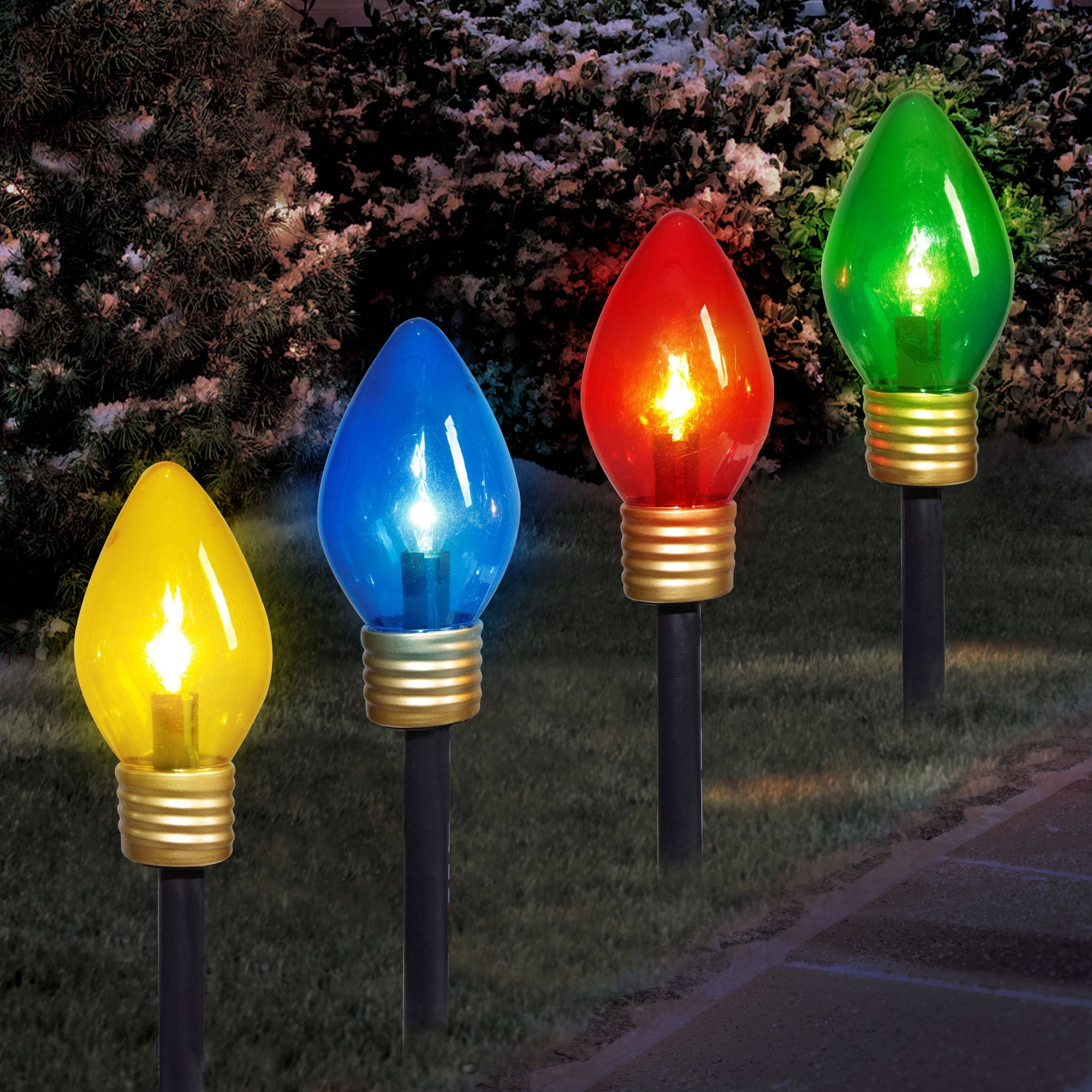 Holiday Time Christmas Lights Jumbo C9 Lighted Lawn Stake, 4-Piece throughout Jumbo Outdoor Lanterns (Image 9 of 20)