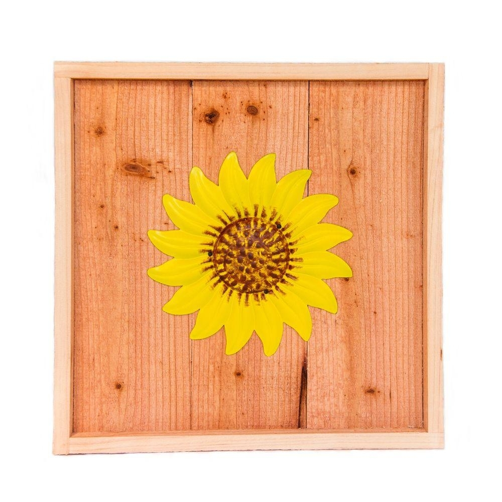 Hollis Wood Products 18 In. X 18 In. Wood Wall Art With Yellow within Sunflower Wall Art (Image 9 of 20)