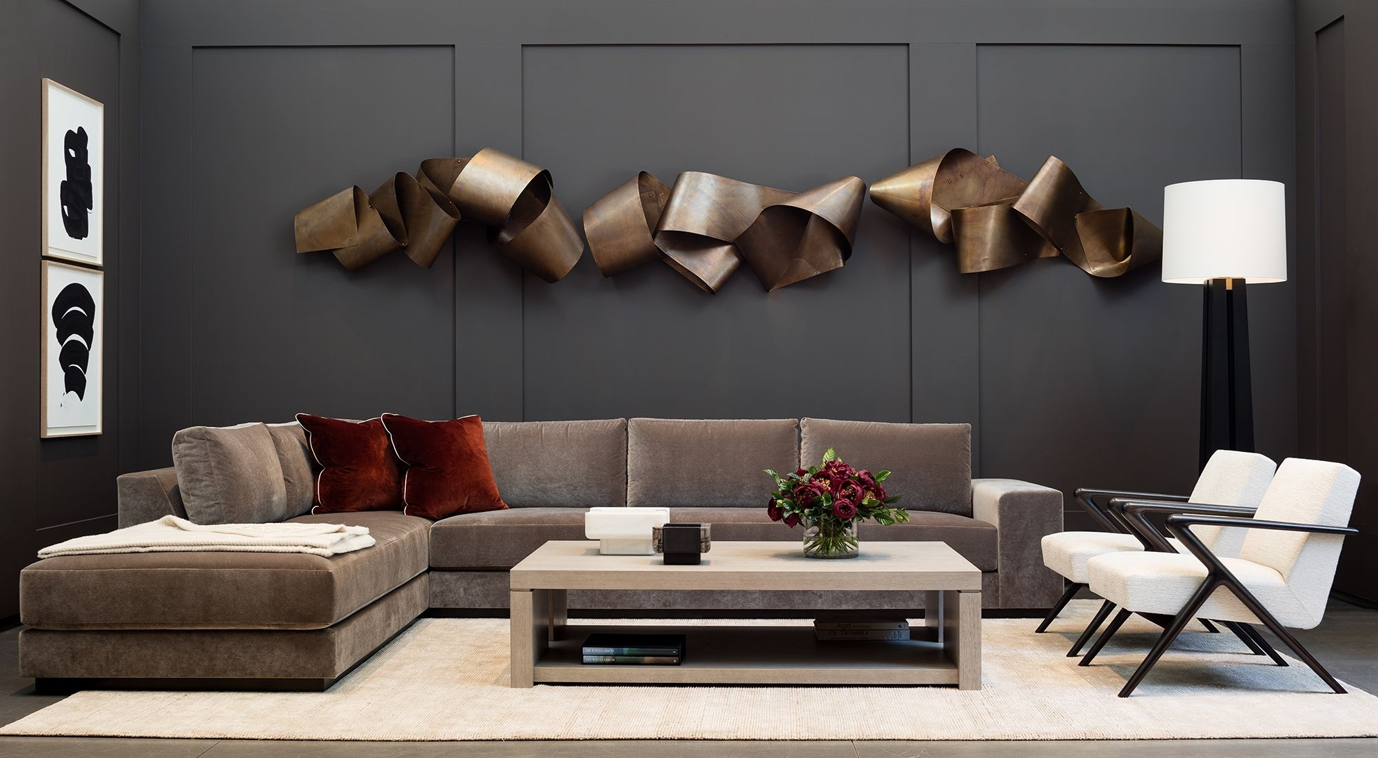 Holly Hunt | Modern Metal Wall Sculpture In Contemporary Living Room inside Modern Metal Wall Art (Image 6 of 20)