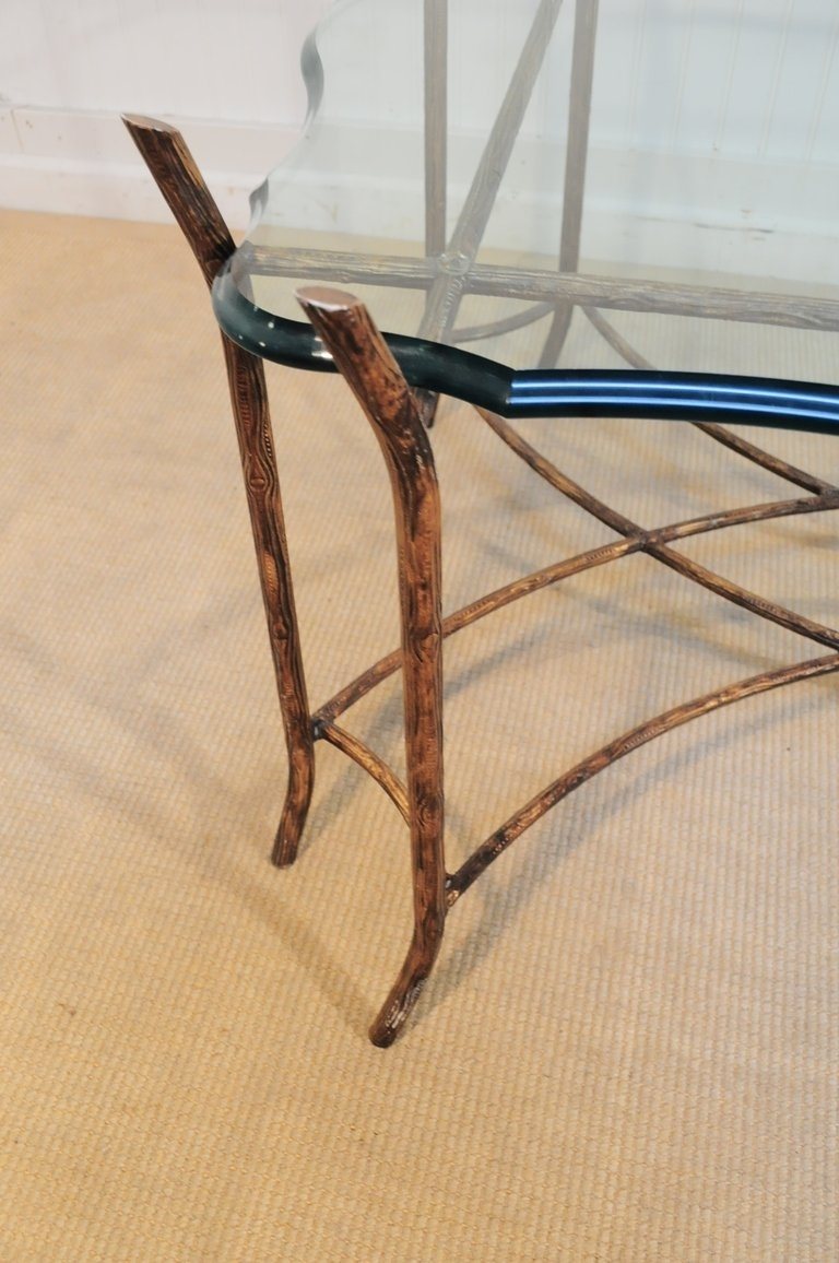 Hollywood Regency Iron Faux Bois And Glass French Bagues Style with Faux Bois Coffee Tables (Image 26 of 30)