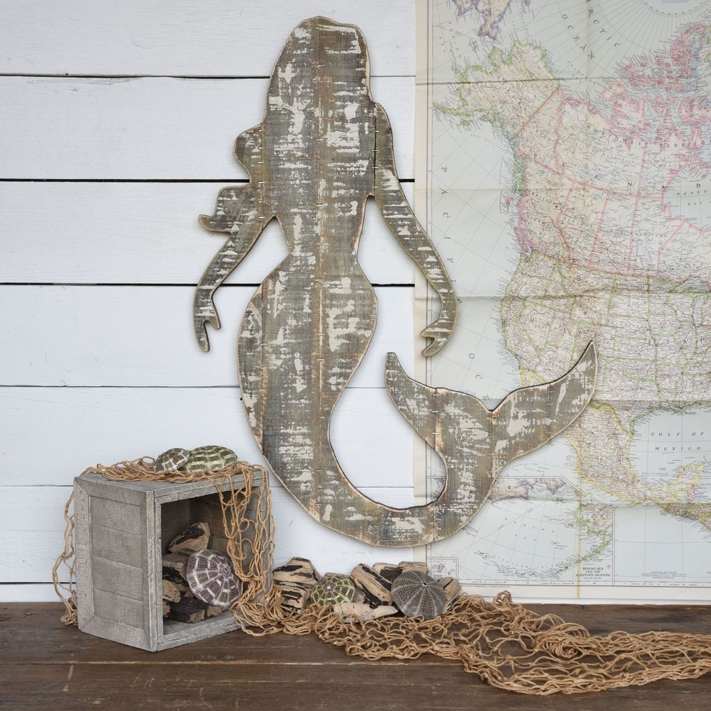 Homart Wood Slat Sealife Mermaid Wall Art - Areohome with regard to Sea Life Wall Art (Image 8 of 20)