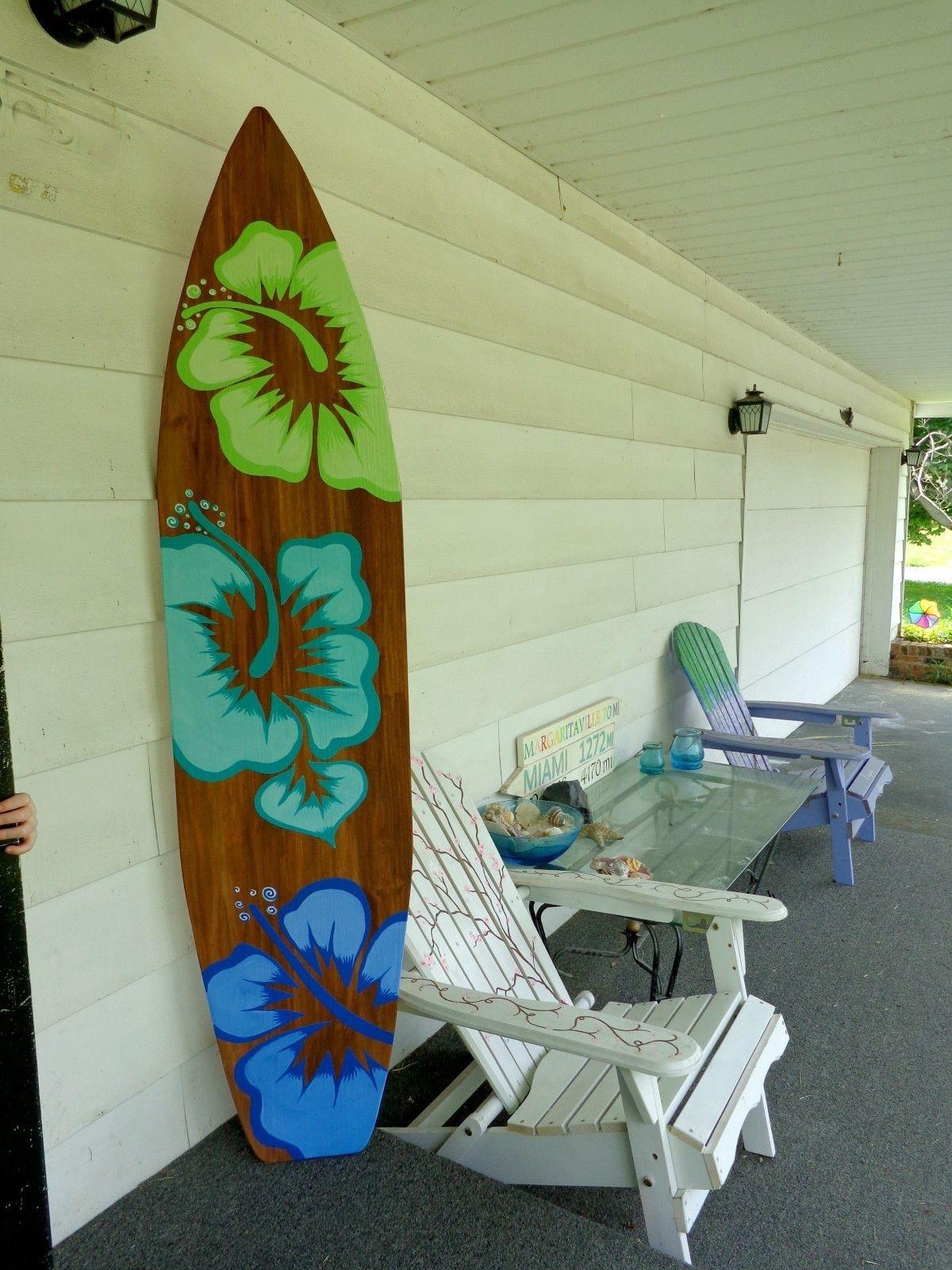 Home Decor: 6 Foot Wood Surfboard Wall Art Beach Decor Or Headboard With Regard To Surfboard Wall Art (View 6 of 20)