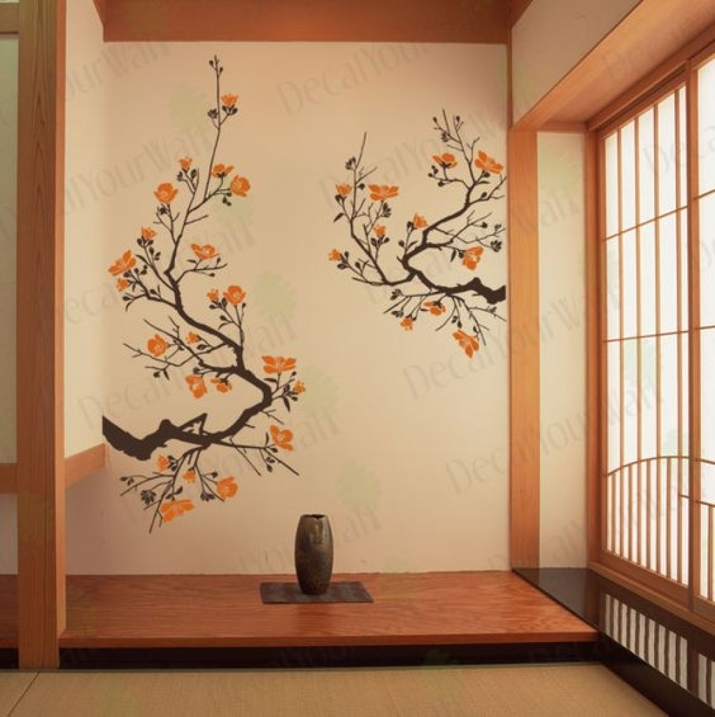 Home Decor Wall Art Stickers Japanese Cherry Blossoms Wall Art Decal regarding Cherry Blossom Wall Art (Image 13 of 20)