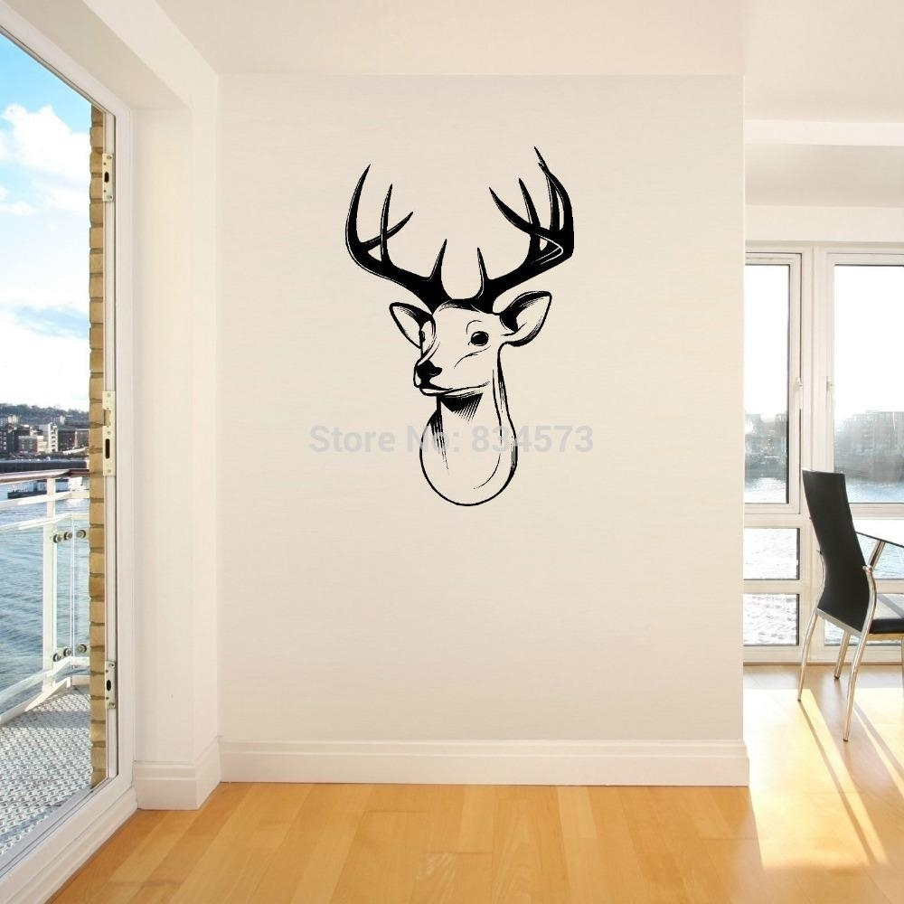 Home Decor Wall Sticker Stags Head Deer Trophy Antlers Steer Wall within Home Decor Wall Art (Image 12 of 20)