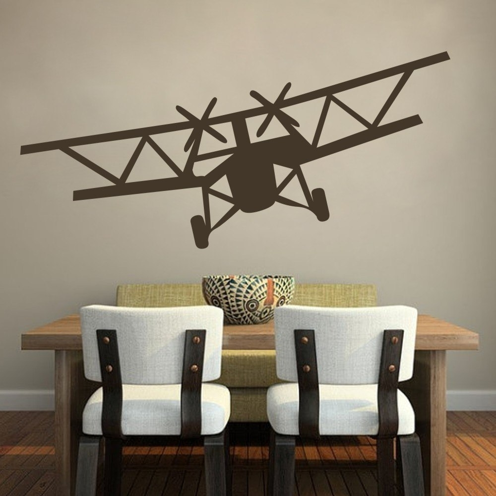 Home Decoration Huge Bi Plane Vinyl Wall Decal Stickers Airplane inside Airplane Wall Art (Image 14 of 20)
