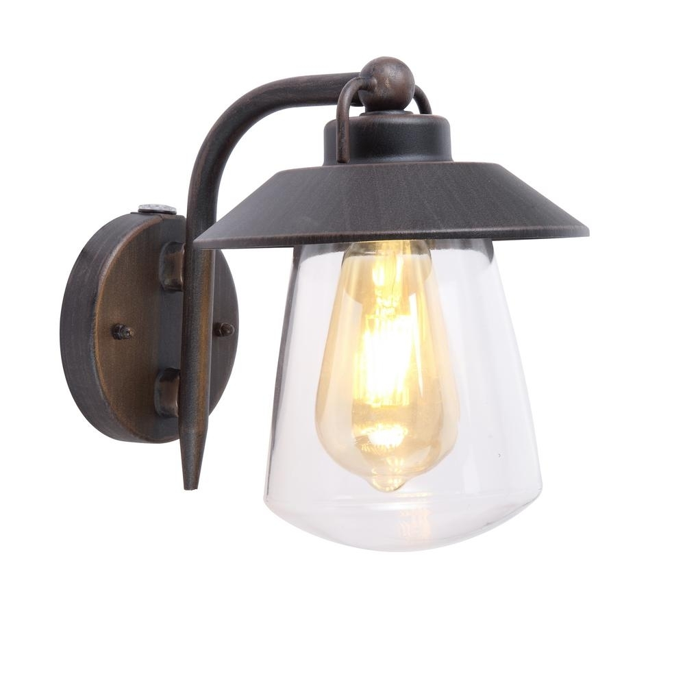 Home Decorators Collection 1-Light Rust Outdoor Wall Mount Lantern for Outdoor Lanterns With Photocell (Image 6 of 20)