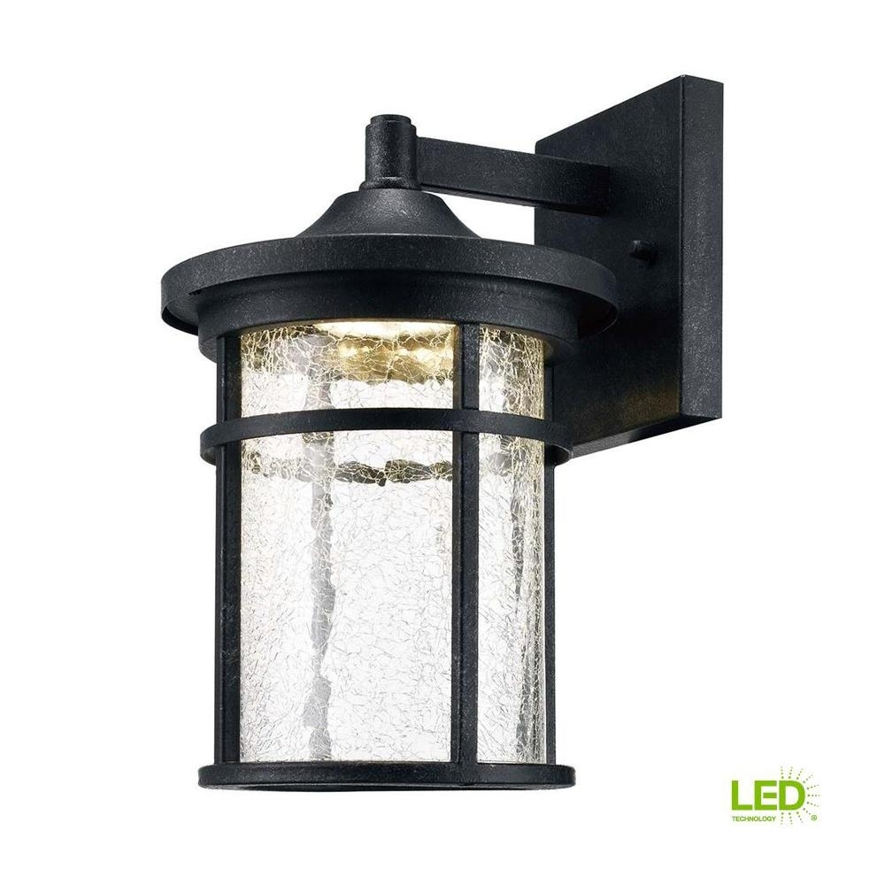 Home Decorators Collection Aged Iron Outdoor Led Wall Lantern With regarding Outdoor Iron Lanterns (Image 8 of 20)