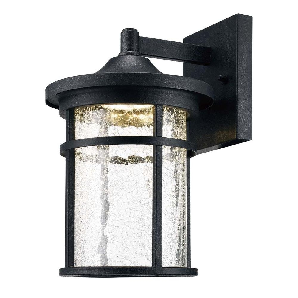 Home Decorators Collection Aged Iron Outdoor Led Wall Lantern With with Outdoor Glass Lanterns (Image 9 of 20)